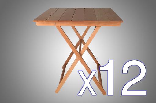 Pack Ahorro x12 - Mesas Plegables Cuadrada de Madera