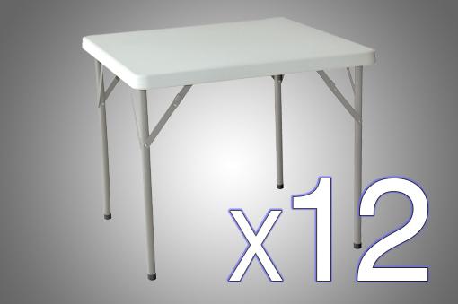 Pack Ahorro x12 - Mesas Plegables Cuadrada de Plástico